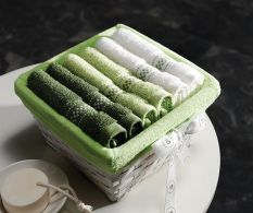 Cosulet impletit cu 6 prosoape Green