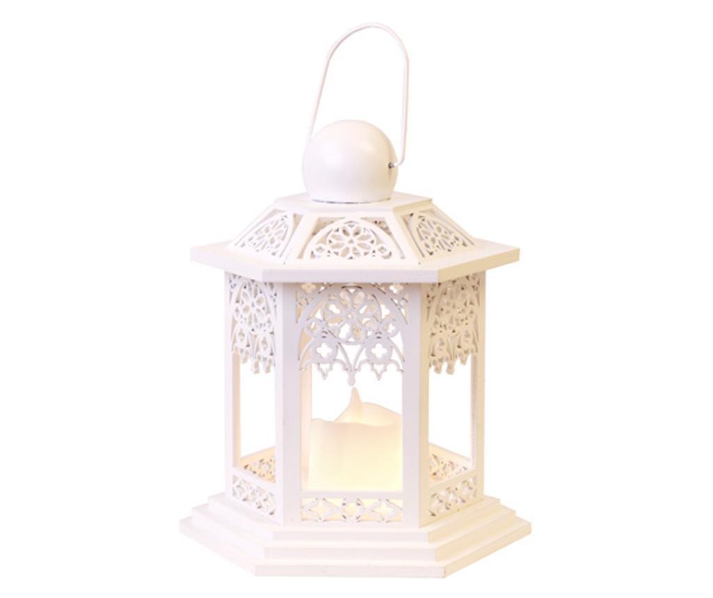 Fenjer s LED svijećom White Lace