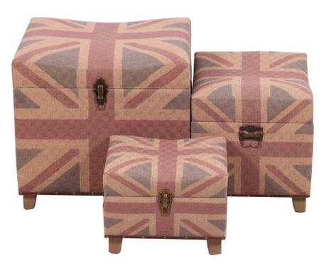 Set 2 taburete si taburet pentru picioare British Flag