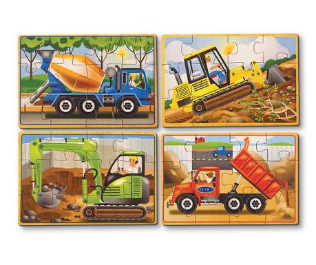 Zestaw 4 par puzzli 12 elementów Constructions