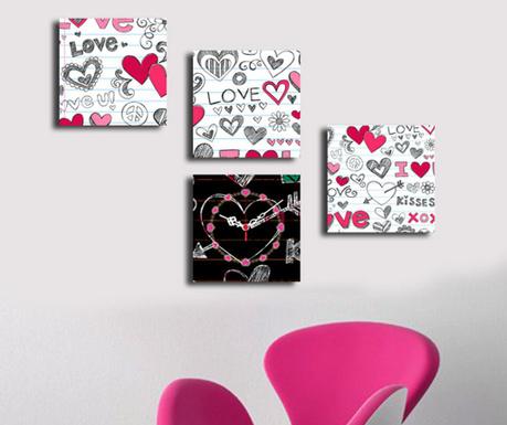 Комплект 4 картини с часовник Love 42x63 см