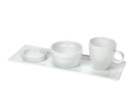 Set 4 piese pentru mic dejun White