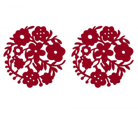 Set of 2 place mats Red Flower