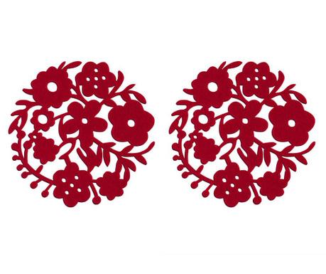 Sada 2 prestieraní Red Flower
