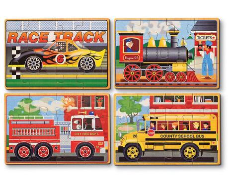 Zestaw 4 par puzzli Vehicules