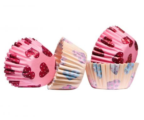 Set 100 forme de copt briose Mini Hearts