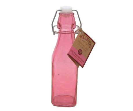 Бутилка с тапа с херметическо затваряне Kilner Clip Square Pink 250 мл