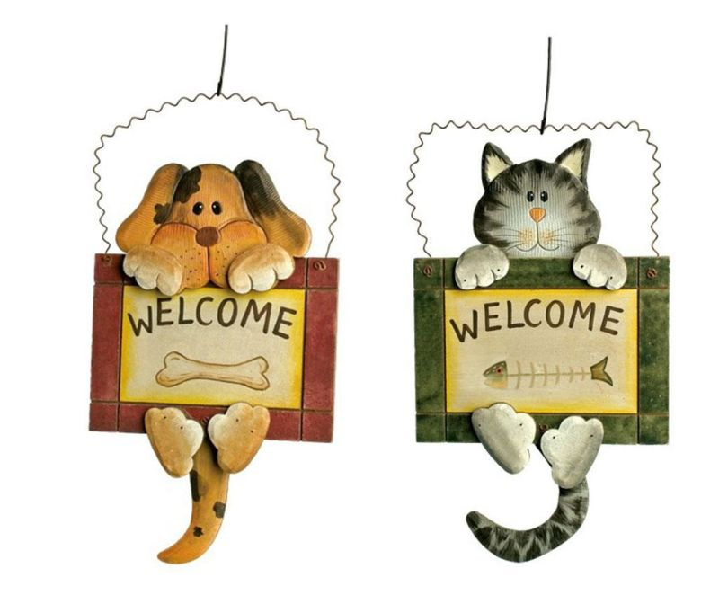 Set 2 decoratiuni de perete Welcome Dog and Cat