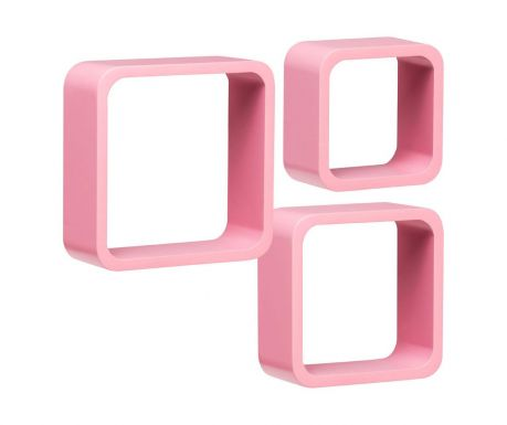 Set 3 stenskih polic Cube Rounded Pink