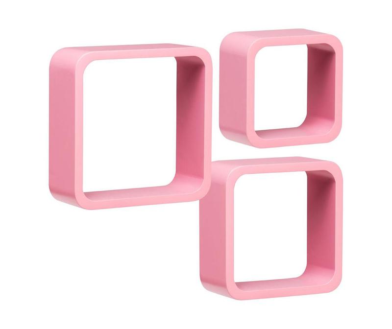 Set 3 stenskih polic Cube Rounded Pink