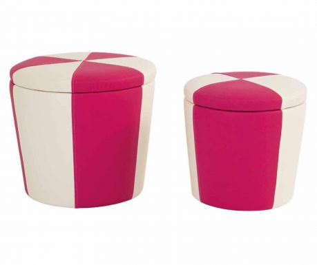 Set 2 taburete Stripes White & Fuchsia