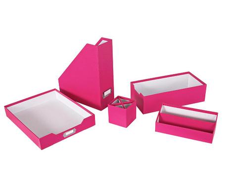 Комплект органайзери  за бюро 5 части Opaco Pink