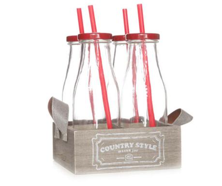 Sada 4 lahví s víčkem, brčkem a tácek Country Style Red