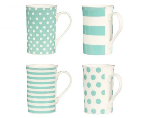 Set 4 šalice Spots & Stripes Turquoise 270 ml
