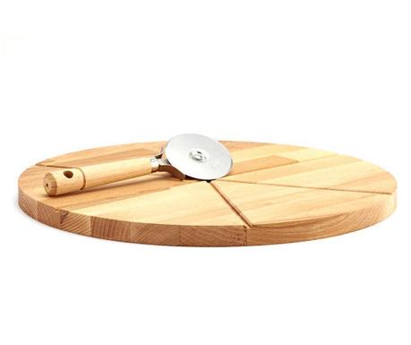 Комплект дъска за рязане и нож за пица Natural