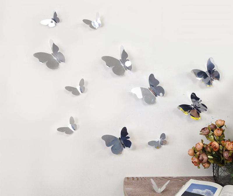 Set 12 stickere 3D Mirror Butterflies