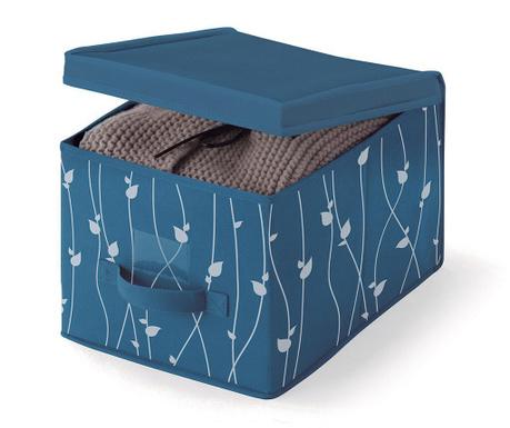 Shranjevalna škatla s pokrovom Leaves Blue S