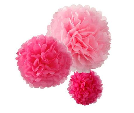 Комплект 3 висящи декорации Flowers Pink
