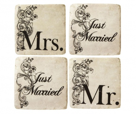 Set of 4 coasters Just Married