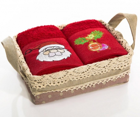 Set 2 brisač v košarici Santa Bells Mistletoe 40x60 cm