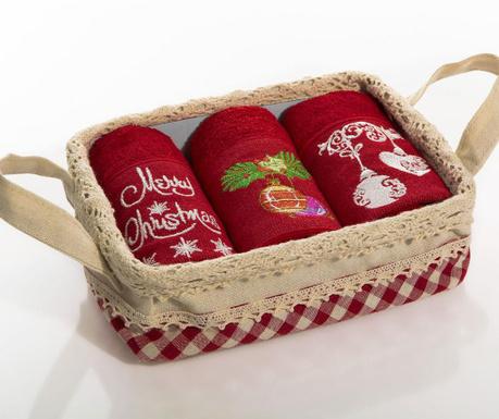 Merry Christmas Bells 3 db Konyhai törölköző kosárban 30x50 cm