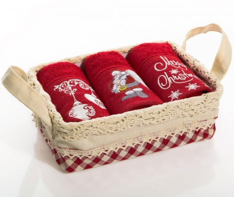 Set 3 prosoape de bucatarie in cos Christmas Bell Claus 30x50 cm