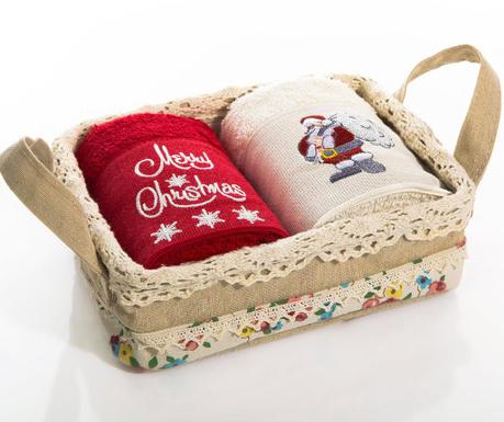 Christmas Santa 2 db Fürdőszobai törölköző kosárban  40x60 cm
