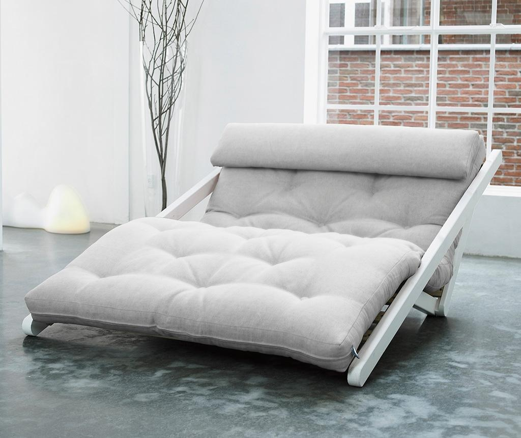 Figo Wide White and Cream Kihúzható nappali heverő
