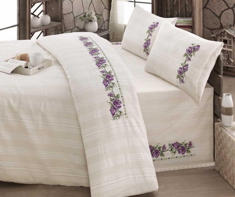 Komplet pościeli Double Ranforce Naturel Lilac