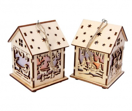 Set 2 decoratiuni suspendabile luminoase Half-Timber House