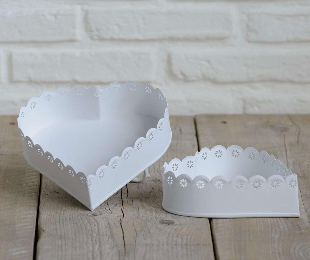 Lace Heart Off White 2 darabos Doboz szett