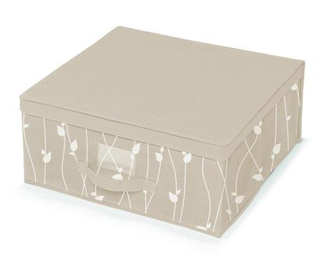 Κουτί με καπάκι για αποθήκευση Beige Leaves M