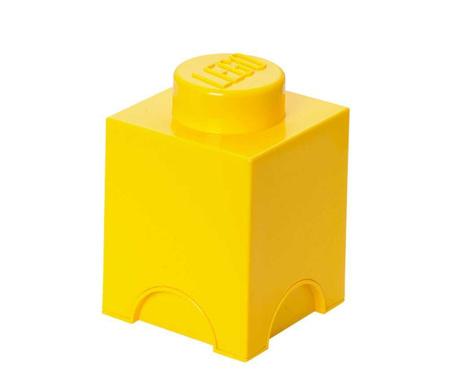 Kutija za pohranu s poklopcem Lego Square Yellow