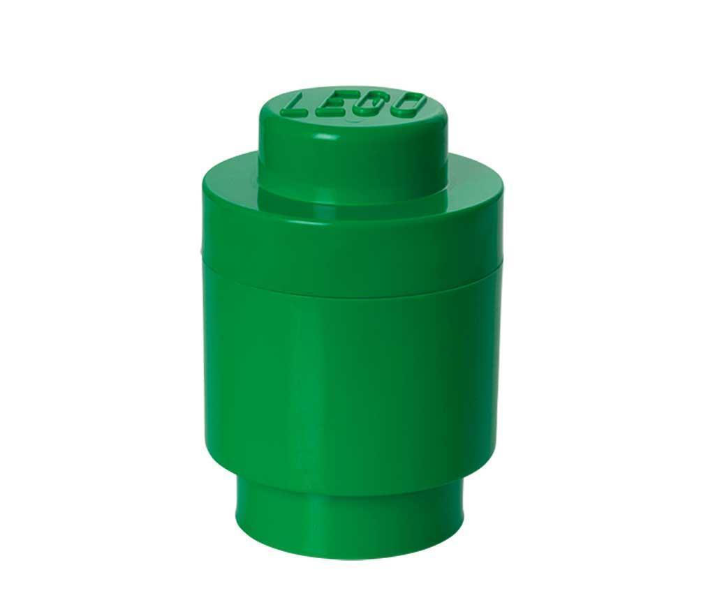 Škatla s pokrovom Lego Round Dark Green