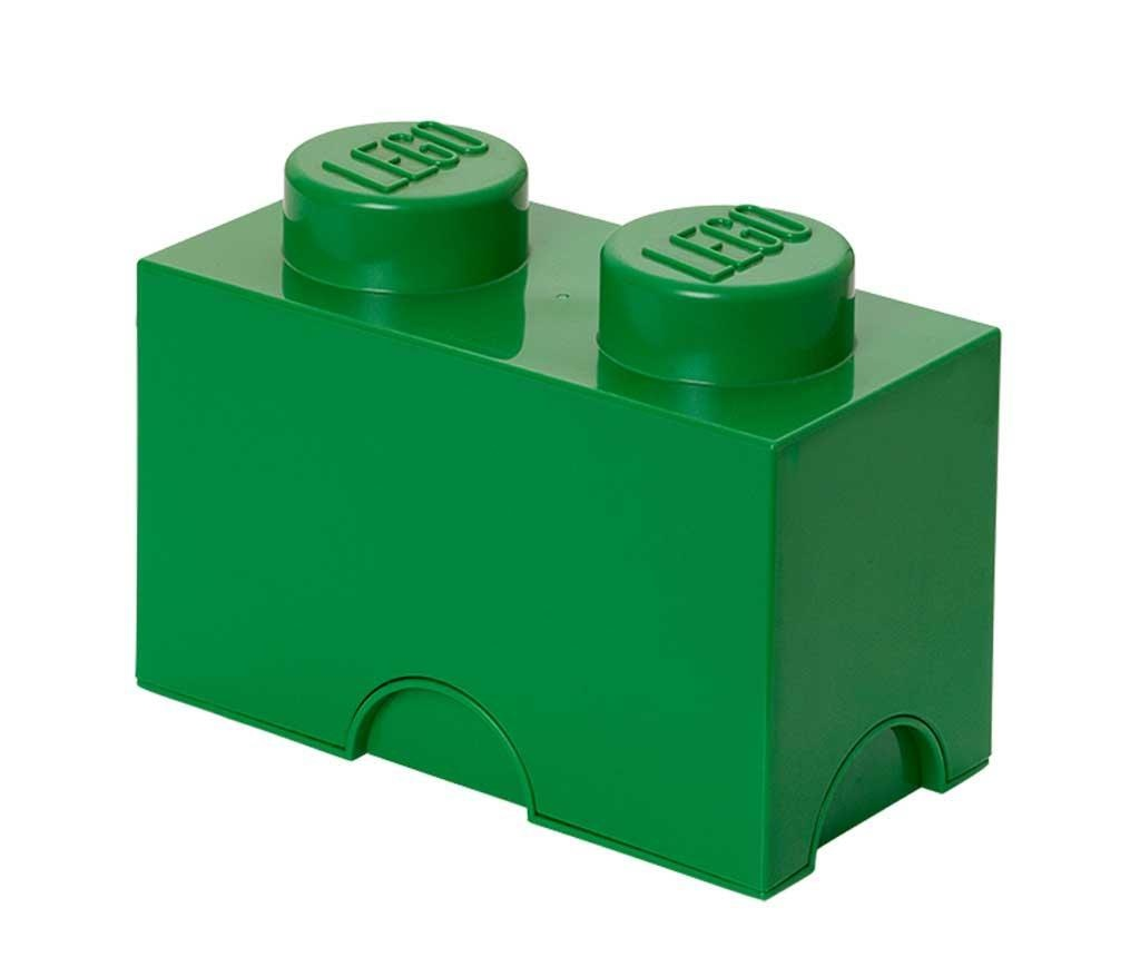 Škatla s pokrovom Lego Rectangular Dark Green