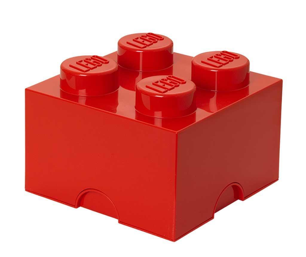 Kutija s poklopcem Lego Square Four Red