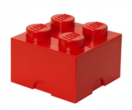 Kutija s poklopcem Lego Square Four Red