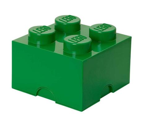 Kutija za pohranu s poklopcem Lego Square Four Dark Green