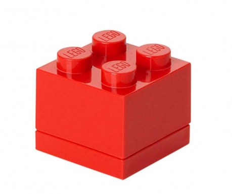 Lego Mini Square Red Doboz fedővel