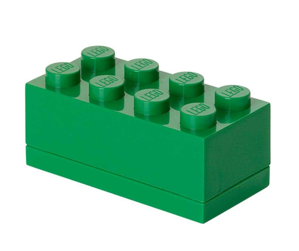 Škatla s pokrovom Lego Mini Rectangular Dark Green