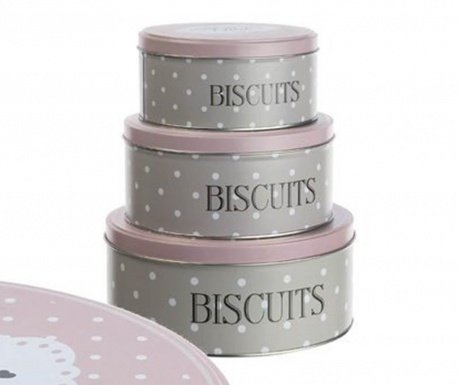 Set 3 cutii cu capac Biscuits Love