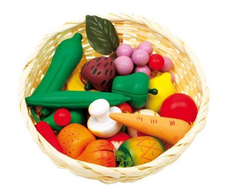 Koszyk z zabawkowymi owocami i warzywami Market Time