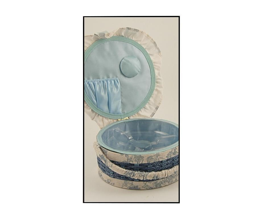 Round Blue Kosár fedővel varrókészletnek