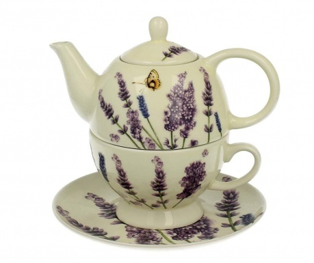 Set of teapot with cup and saucer Lavender Time