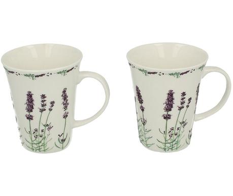 Set of 2 mugs Lavender White 250 ml
