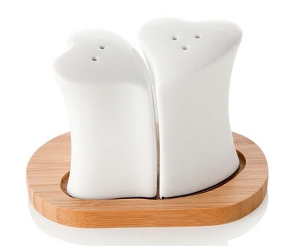 Комплект солница и пиперница с поставка White Hearts