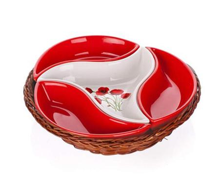 Pięcioczęściowy zestaw do przekąsek Red Poppy Basket