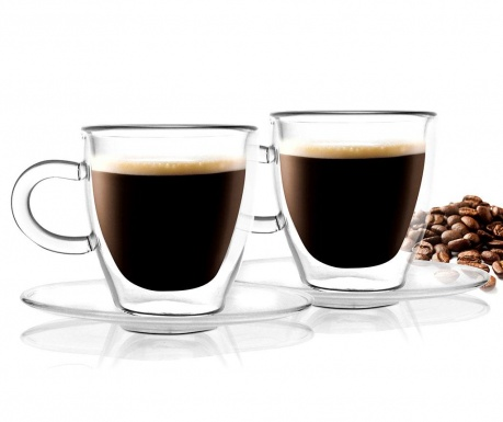 Set 2 cesti si 2 farfurioare Doubled Espresso 50 ml