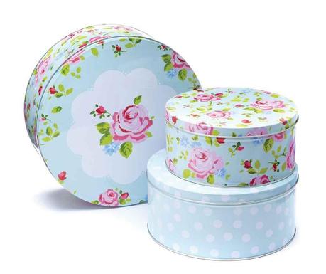 Set 3 cutii cu capac Vintage Floral Cake