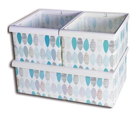 Set 3 cutii pliabile pentru depozitare Leaves